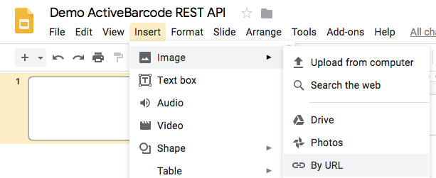 Demo ActiveBarcode REST API @ Google Slides